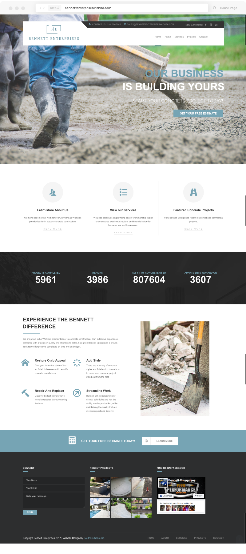 Bennett Enterprises Homepage Design