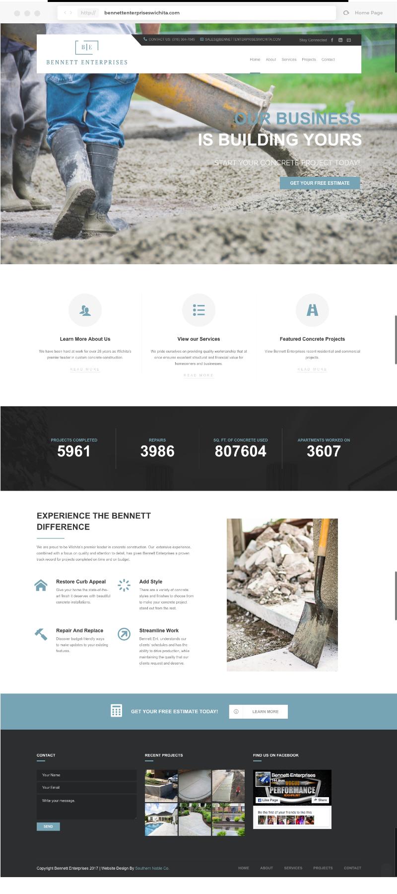 Bennett Enterprises Homepage Design